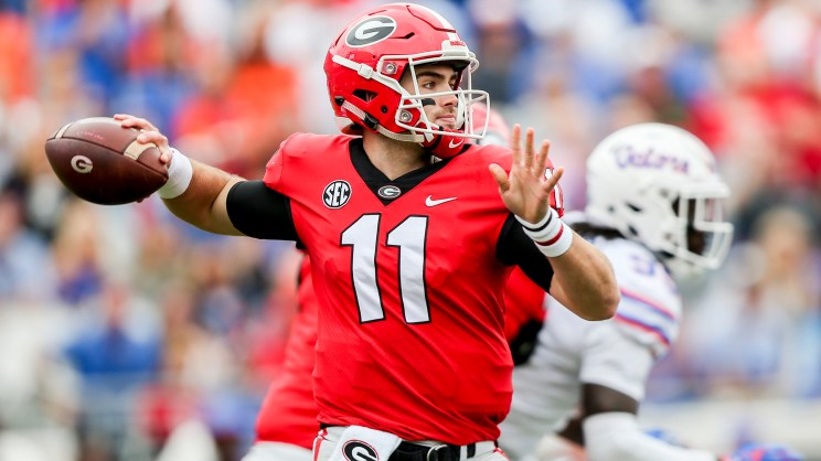 Georgia quarterback Jake Fromm (11) looks to throw the ball in a game against the Gators in the second quarter at TIAA Bank Field in Jacksonville on Saturday, October 27, 2018.  (Times, 2018)