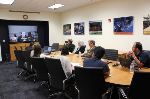 Applied Research Center's scientists/engineers listening to DOE-EM Leadership (Mr. Mark Gilbertson) during his remarks at the Wrap Up session