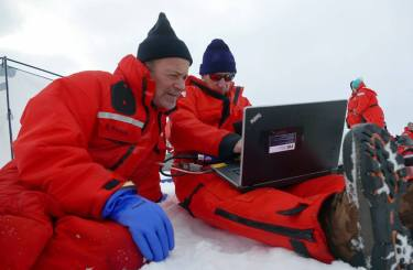 Dr. Kadko and his colleagues on the Healy reached the North Pole on Saturday at 11:47 AM EDT