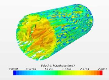 Contour of velocity in quais-direct numerical simulation (Bingham fluid flowing through a pipe)