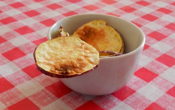 chips de batata doce de microondas