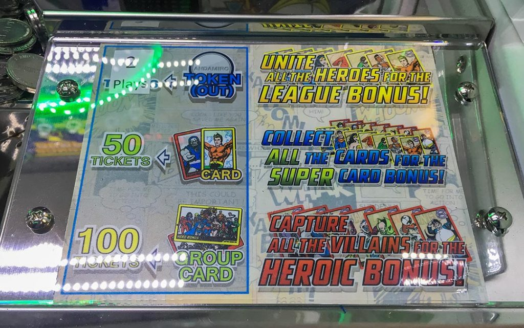 Images of card ticket payouts on the coin pusher arcade game