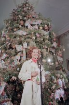 "In 1969, First Lady Patricia Nixon chose for her theme, ""state flowers"". Each ornament portraying a state flower was hand painted and commissioned by disabled workers in Florida."