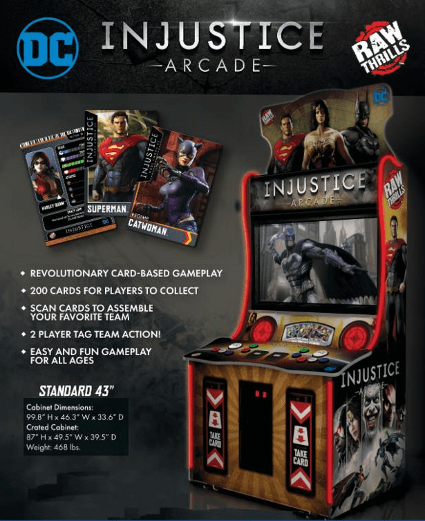 Injustice Arcade sales flyer by Raw Thrills