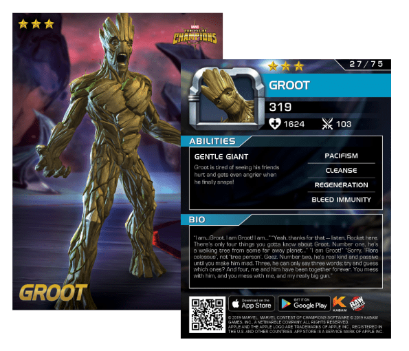 Groot card, Marvel Contest of Champions Arcade