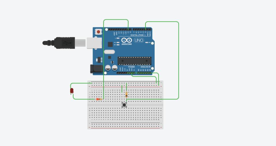 Принципиальная схема подключения кнопки и светодиода