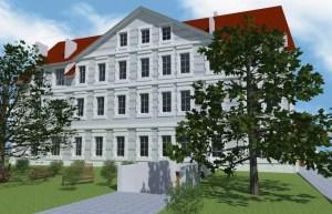 ArCADia BIM LT Architektur Erweiterung - 2D 3D CAD Original Rendering - Frontalansicht denkmalgeschütztes Haus