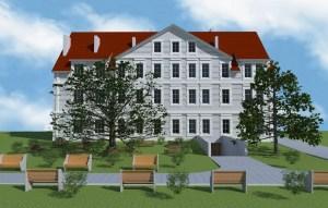 ArCADia BIM LT Architektur Erweiterung - 2D 3D CAD Original Rendering - Frontalansicht denkmalgeschütztes Haus 2