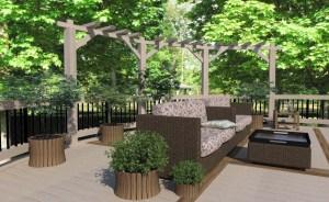 ArCADia BIM LT Architektur Erweiterung - 2D 3D CAD Original Rendering - Visualisierung Terrase Garten