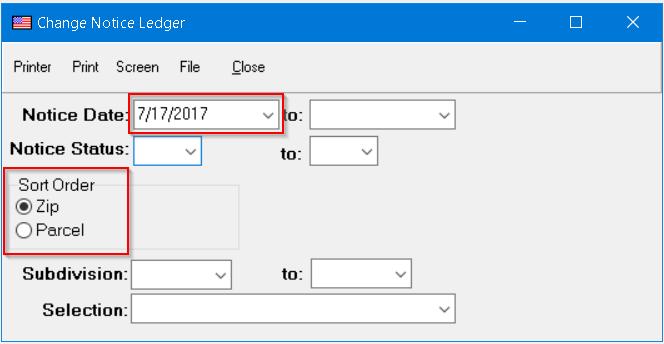 Change Notice Ledger Screen
