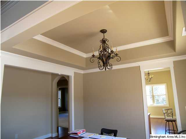 Dining Room With Trey Ceiling And Moulding