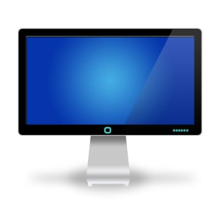Computer Monitor with Sky Blue Screen