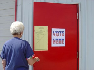 Door with Vote Here Sign