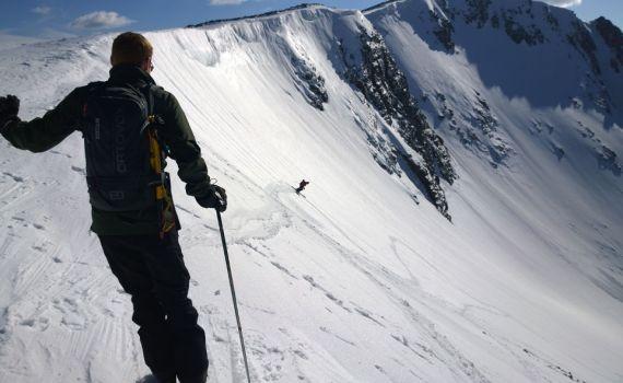 skiing down into sneachda
