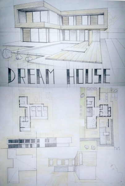 Modern House Drawing Perspective Floor Plans Design Architecture     Modern House Drawing Perspective Floor Plans Design Architecture Student