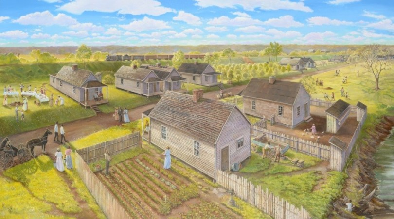 Painting of a neighborhood in Kentucky in the 1890's, with smallish houses and large farming gardens.