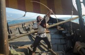Shooting and arrow from Lofotr, our Replica Viking Longship at the Lofotr Viking Museum