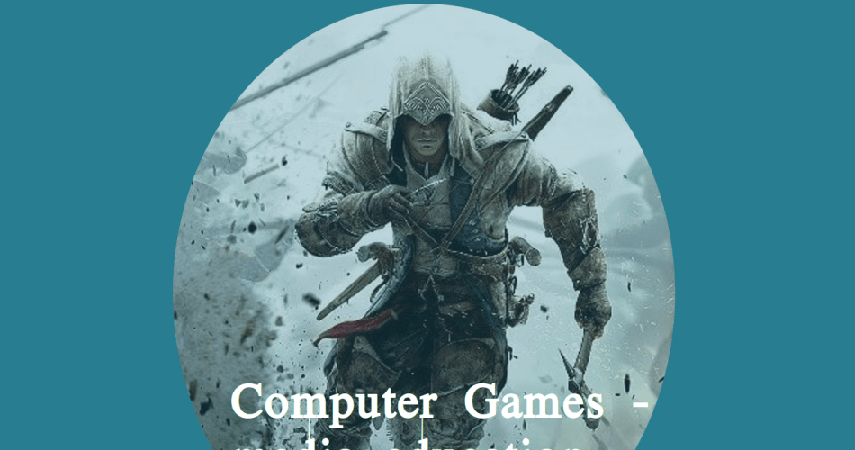 Daniel Giere: Computer games - media education - historical learning. Background: Assassins Creed III image of the hero running towards you