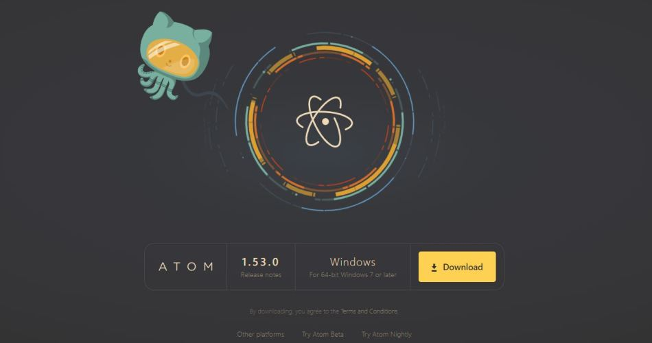 Screenshot of the Atom website