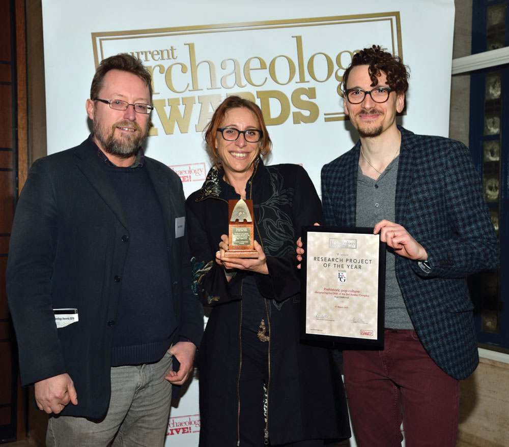 Part of the Bell Beaker DNA team collect their award for Research Project of the Year 2019.