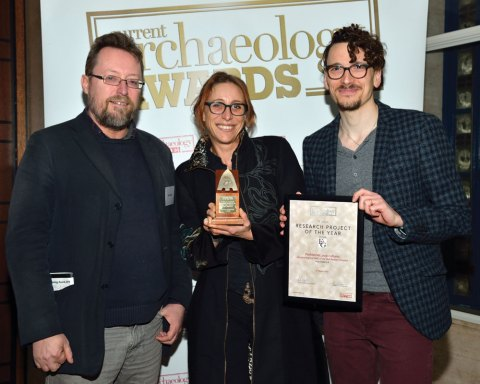 Part of the Bell Beawker DNA team collect their award for Research Project of the Year 2019.