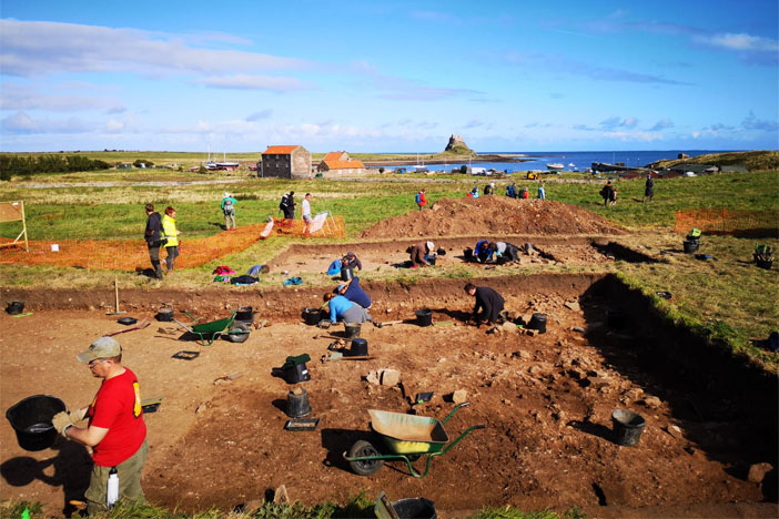 A view of one of the trenches in this summer's excavations on Lindisfarne.
