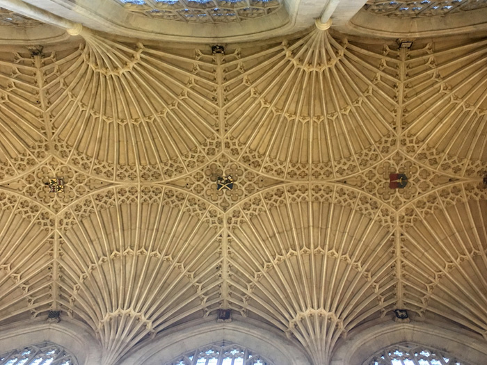 The fan vaulting in the ceiling of the abbey