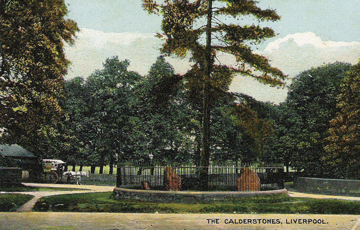 Between 1845 and 1954, the stones were housed outside the entrance to the park, as shown on this postcard