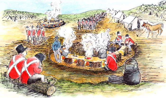 A reconstruction drawing showing how the camp kitchen may have looked when it was in use
