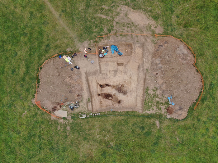 An aerial view of the excavation at Street House this year