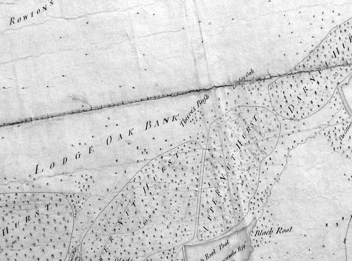 A 1770 showing Lodge Oak marked in the crease of the map