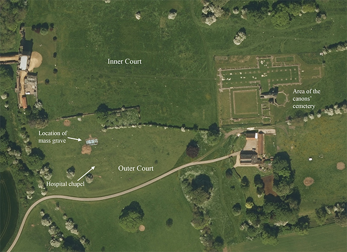 Aerial picture of the monastic precint, with the location of the grave labelled