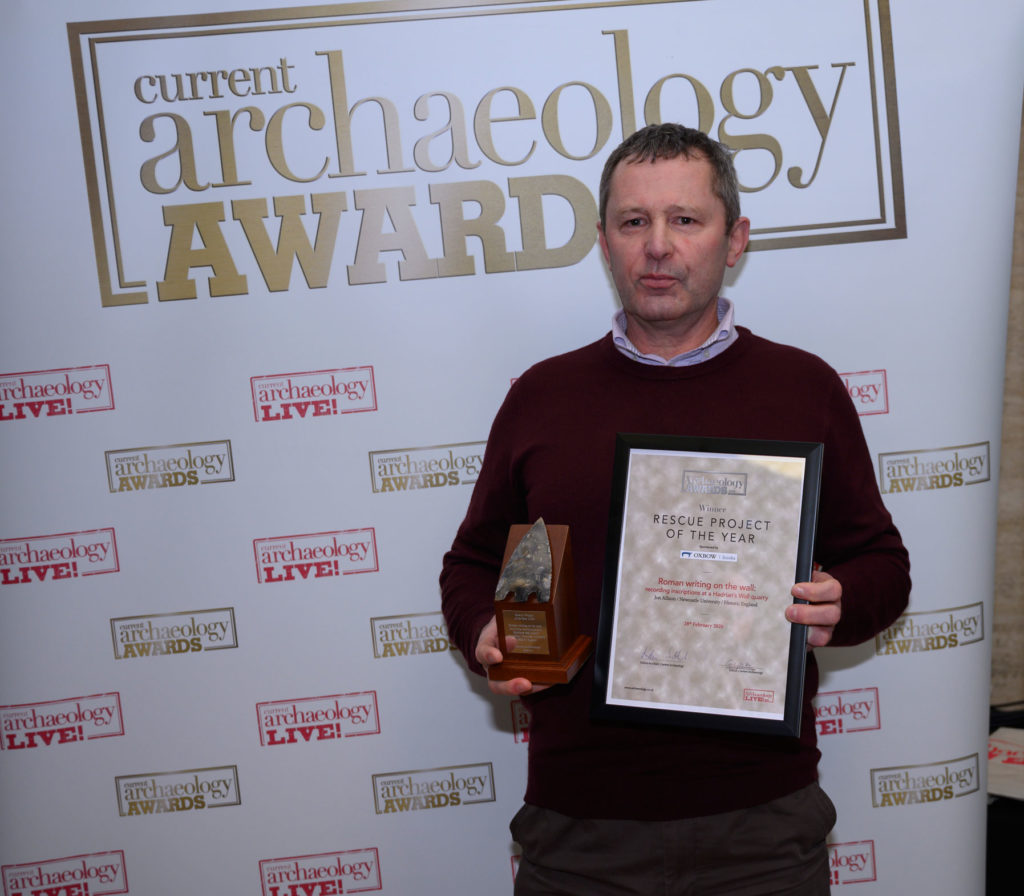 Jon Allison collected the award for Rescue Project of the Year 2020 at the Current Archaeology Awards, on behalf of 'Roman writing on the wall: recording inscriptions at a Hadrian's Wall quarry'.