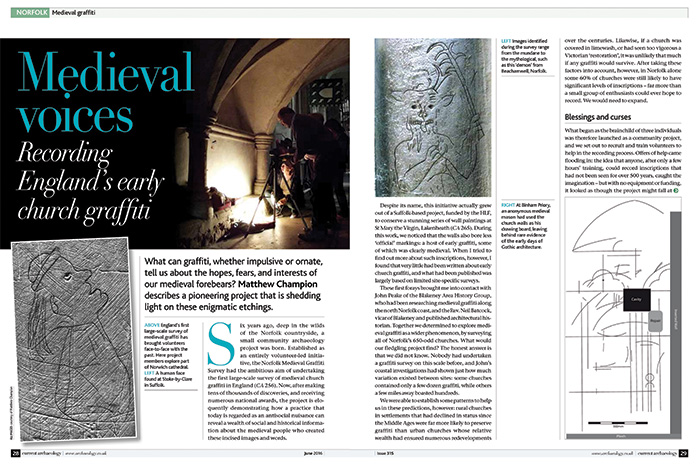 Double page spread, title reading 'Medieval voices'