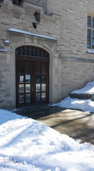 Accessibility entrance on the western side of University Hall