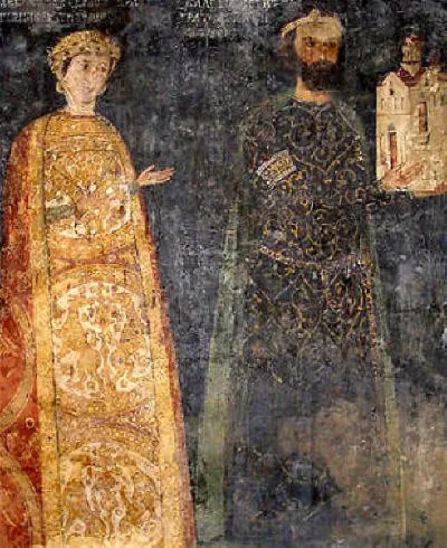 The mural of the donors of the Boyana Church - 13th century Bulgarian feudal lord (ruler of Sredets, today's Sofia), Sebastokrator Kaloyan, and his wife, Sebastokratoritsa Desislava. Photo: Martyr, Wikipedia