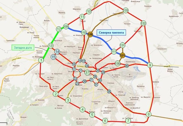 Two new road construction projects - for the Western Arc (colored in green) and the Northern Tangent (colored in blue) of the Sofia Ring Road require rescue archaeological excavations in 2015. Map: Reformi.org