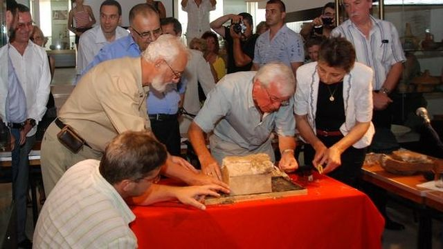 This photo from 2010 shows the public opening by Bulgarian archaeologist Prof. Kazimir Popkonstantinov of the reliquary with the relics of St. John the Baptist found in the Early Christian monastery on the St. Ivan Island near Sozopol. Photo: Radio Burgas