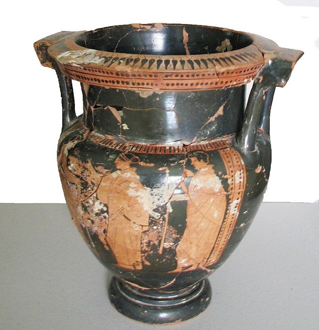 This 5th century BC krater (Ancient Greek or Thracian wine mixing vessel) has been seized from a Bulgarian treasure hunter. It was probably found in the burial mound tomb of a Thracian aristocrat. Photo: Press Center of Bulgaria's Interior Ministry