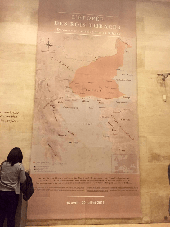 A map of the Odrysian Kingdom of Ancient Thrace presented at Bulgaria's Ancient Thracian exhibition in the Louvre Museum, Paris, France. Photo: Musée du Louvre / Antoine Mongodin / Louvre Museum Facebook Page