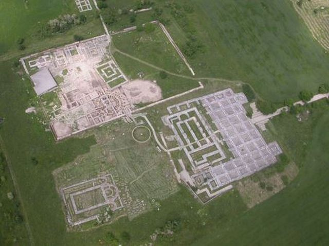 An aerial view of the ruins of the royal palace inside the Inner City (citadel) of the early medieval Bulgarian capital Pliska. Photo: Photo: National Institute and Museum of Archaeology, Europeana Carare Project
