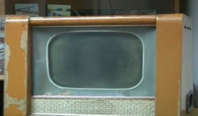 "The first TV set ever to be used in Bulgaria was a 1958 Soviet-made ""Record"" brought from the USSR by a Bulgarian miner from the Danube city of Silistra. Photo: TV grab from BNT 2"