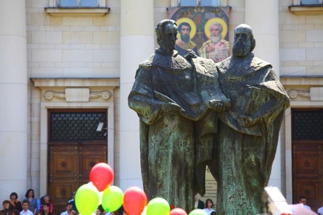Celebrations of May 24, Day of the Bulgarian (Cyrillic) Alphabet and Bulgarian Culture at the Monument of St. Cyril and St. Methodius in front of the National Library in the Bulgarian capital Sofia. Photo: TV grab from bTV