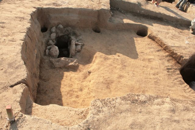 The excavation of a medieval home at the 11th-12th century AD Byzantine settlement which has been been discovered and partly excavated as part of the rescue excavations along the route of the Maritsa Highway near the town of Velikan in Southern Bulgaria. Photo: archaeologist Stanimir Stoychev, Shumen Regional Museum of History