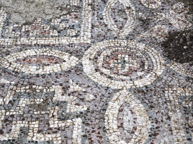 The newly found lower layer of Early Christian floor mosaics in the 5th century AD Byzantine Great Basilica in Bulgaria's Plovdiv features many depictions of crosses. Photo: PodTepeto.com