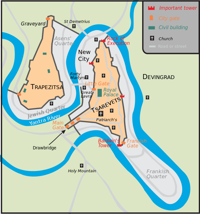 A map of Tarnovgrad (today's Veliko Tarnovo), the capital of the Second Bulgarian Empire (1185-1396 AD), showing the Tsarevets Hil, the Trapesitsa Hill, and the Devingrad (Virgins' Town) or Momina Kreport (Maiden's Fortress) Hill. Map: Martyr, Wikipedia