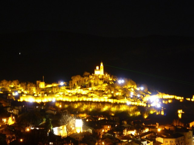 "A photo of the Tsarevets Hill Fortress in Bulgaria's Veliko Tarnovo during the audiovisual show called ""Sound and Light"". Photo: chudesa.net"