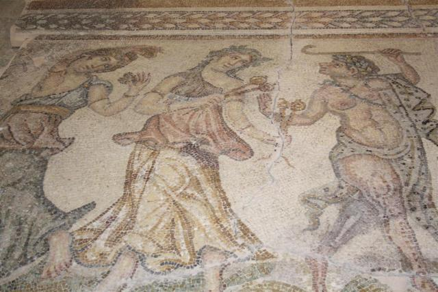 "The 4th century AD Ancient Roman mosaic found in the city of Augusta Traiana in Bulgaria's Stara Zagora shows a ""Dionysus's Procession"" consisting of Dionysus's tutor and companion Selenus (right) who is leading two dancing bacchanals. Photo: Stara Zagora District Governor's Office"