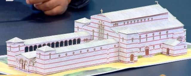 A model showing what the Great Basilica (built in 866-876 AD) in the early medieval Bulgarian capital look like before it was razed to the ground by the invading Ottoman Turks at the end of the 14th century. Photo: TV grab from bTV