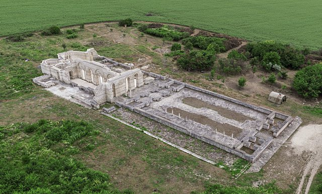 A more recent aerial photo of the 102.5-meter long ruins of the Great Basilica in Pliska, capital of the First Bulgarian Empire between 680 and 893 AD), which was completed in 875 AD, a decade after Bulgaria's adoption of Christianity. Photo: National Museum of History